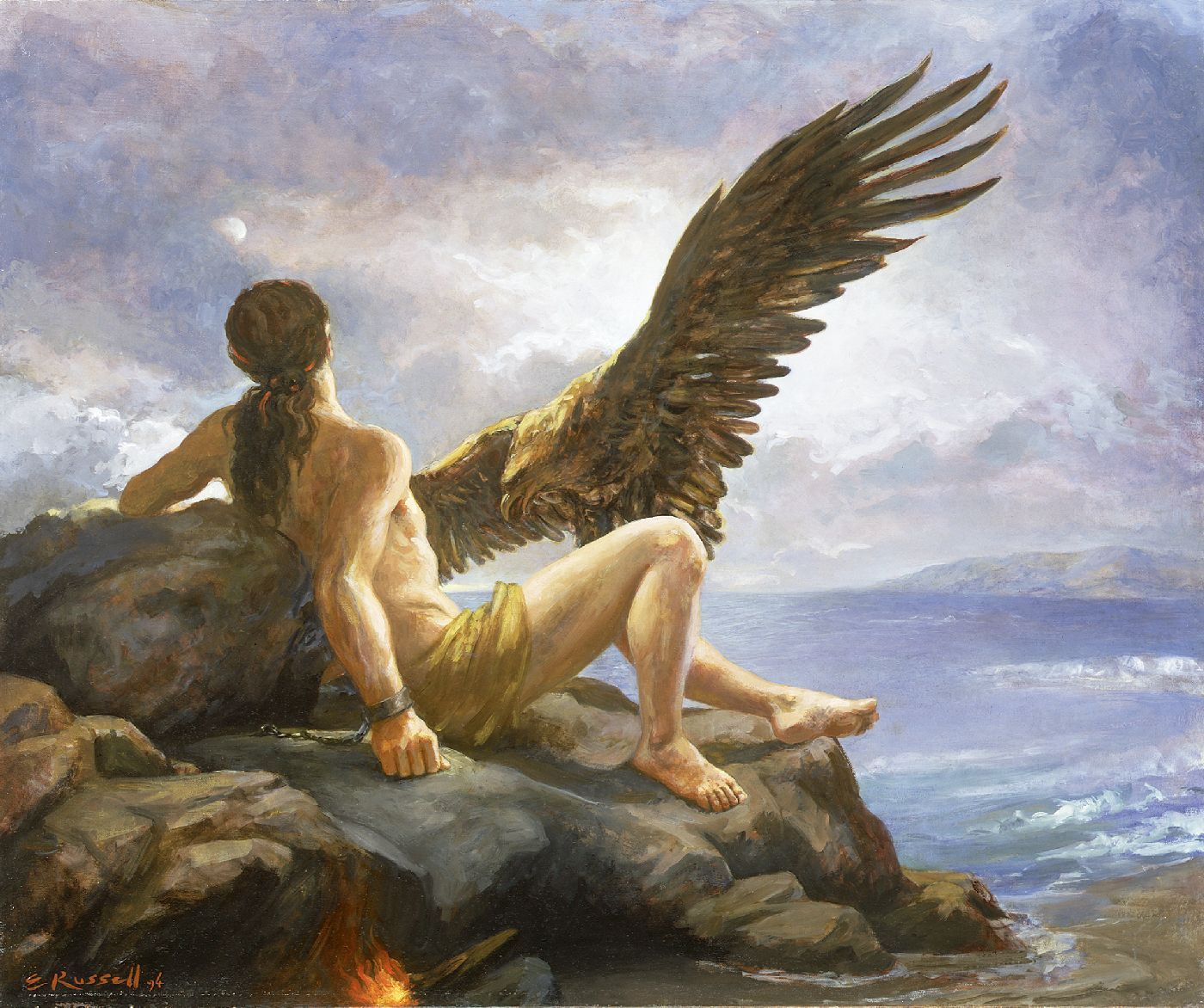 Prometheus' liver getting eaten by the eagle, by Elsie Russell